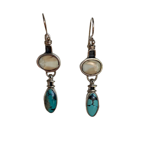 Fossil Walrus Ivory & Turquoise Earrings