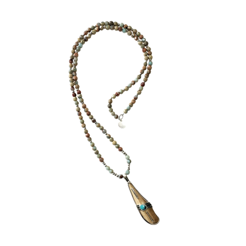 Walrus Ivory Fossil, Turquoise and Serpentine Necklace