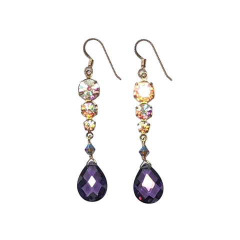 Vintage Rhinestone and Purple CZ Earrings