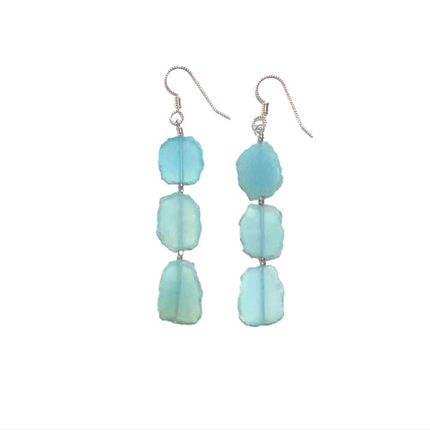 Chalcedony and Silver Earrings