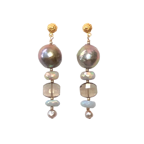 Baroque Pearl & Blue Opal Earrings