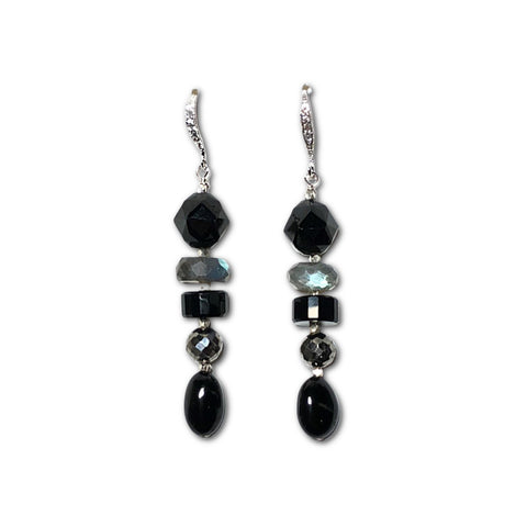 Black Spinel, Labradorite & Pyrite Earrings