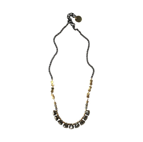 Pyrite, Mixed Metal Necklace
