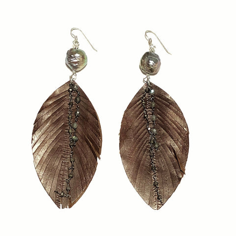 Leather & Baroque Pearl Earrings