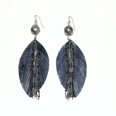 Leather & Baroque Pearl Feather Earrings