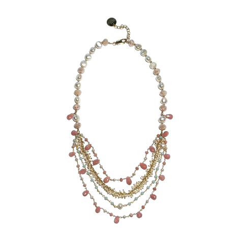 Pearl and Pink Opal Necklace