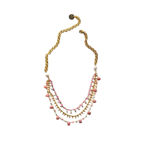 Pink Opal and Pearl Necklace