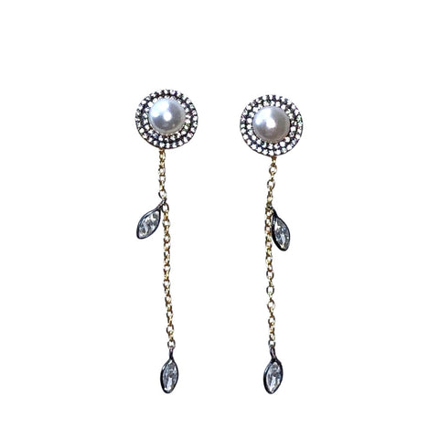 Pearl, Cubic Zirconia & Mixed Metal Earrings