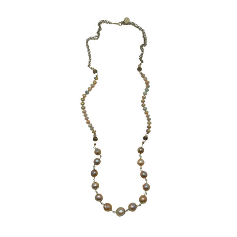 Baroque Pearl & Blue Opal Necklace