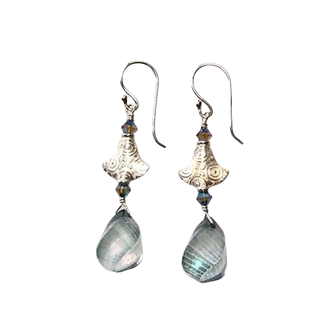 Quartz & Silver Earrings