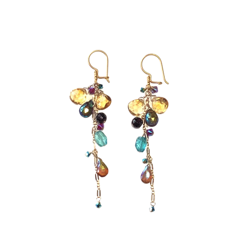 Mixed Stone Dangle Earrings