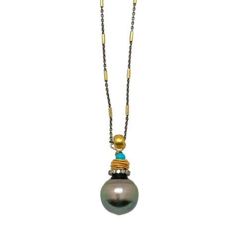 Tahitian Pearl, Diamond & Turquoise Necklace