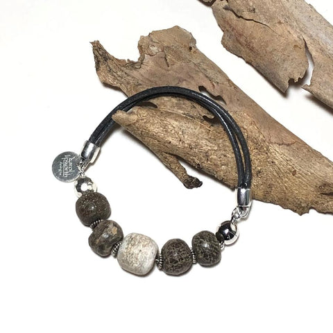 Fossil & Leather Bracelet