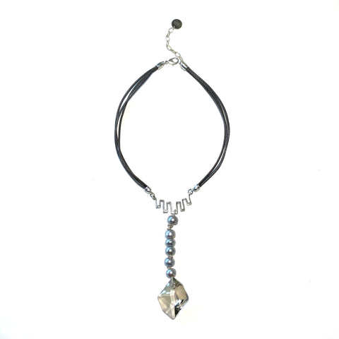 Gray Pearl, Crystal & Leather Necklace