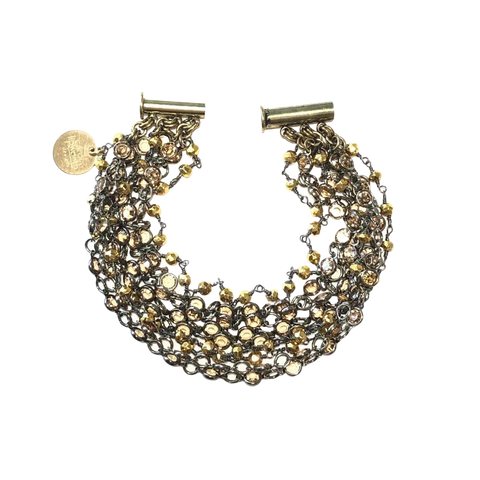 Brown Swarovski Crystal & Pyrite Bracelet