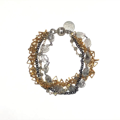 Herkimer Diamond, Labradorite & Mixed Metal Bracelet