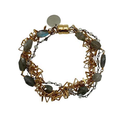 Mixed Metal and Labradorite Bracelet