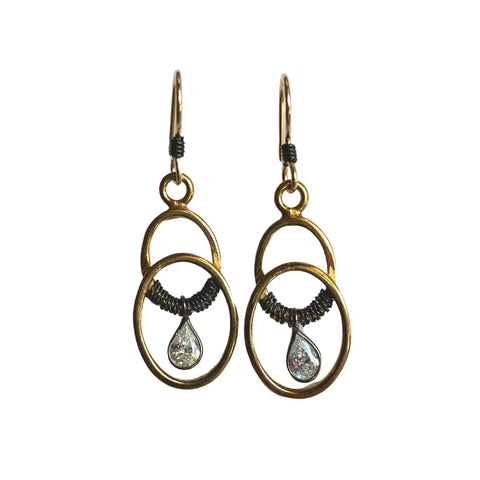 Cubic Zirconia Mixed Metal Earrings