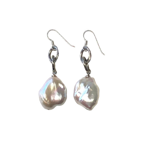 White Baroque Pearl & Silver Earrings