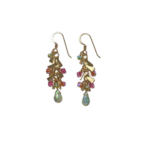 Opal, Crystal & Gold Earrings