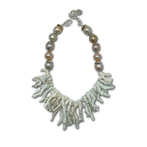 Natural White Coral & Pearl Necklace