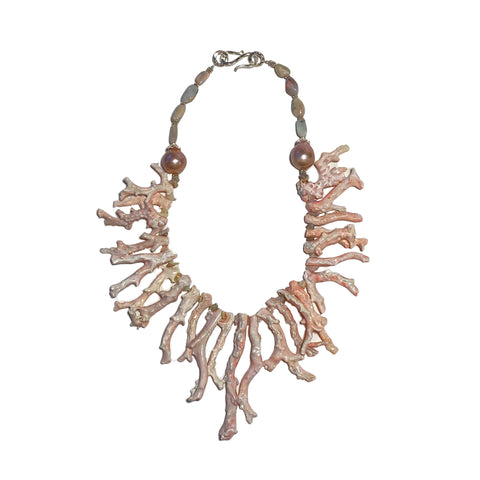 Natural Coral and Opal Necklace