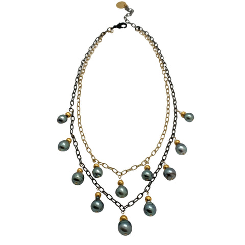 Tahitian Pearl and Mixed Metal Necklace