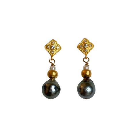 Tahitian Pearl and Gold Earrings