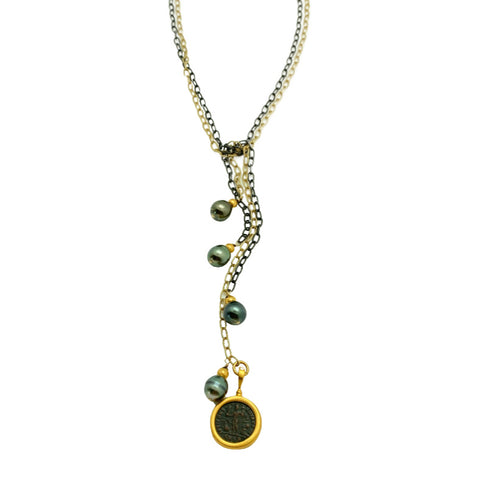 Mixed Metal, Tahitian Pearl & Byzantine Coin Lariat