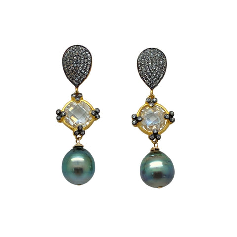 Tahitian Pearl and Mixed Metal Earrings