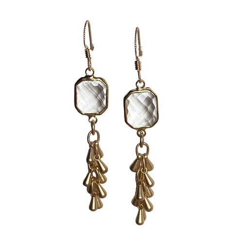 Faceted Cubic Zirconia and Gold Earrings