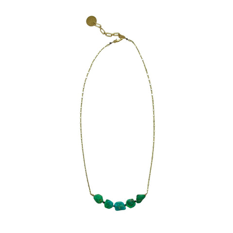 Natural Green Turquoise, Spinel & Gold Necklace