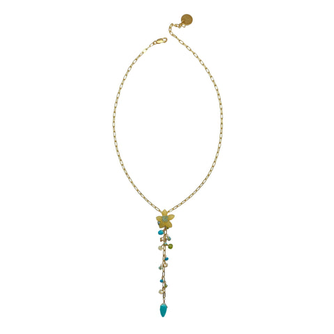 Vintage Yellow Lucite Flower and Turquoise Lariat