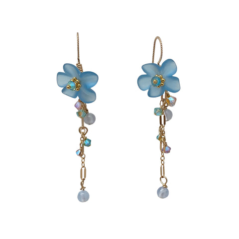 Vintage Blue Lucite Flower and Crystal Earrings
