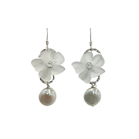 Vintage Lucite Flower & Coin Pearl Earrings