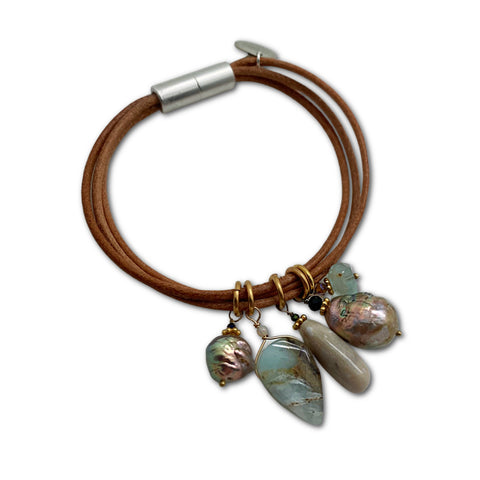 Leather, Baroque Pearl & Opal Bracelet