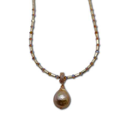 Rose Gold & Crystal Necklace with Baroque Pearl Drop