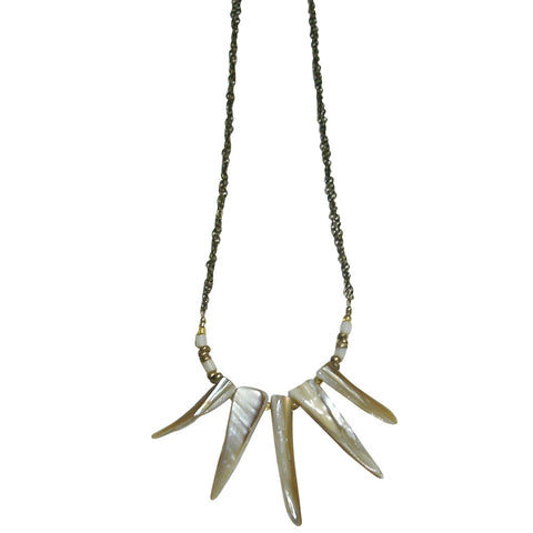 Mother-of-pearl & Antiqued Brass Necklace