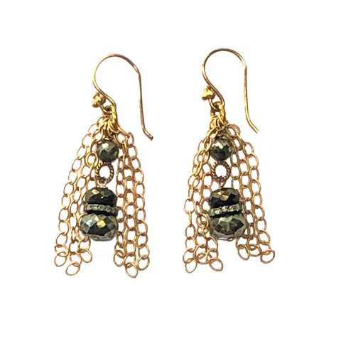 Pyrite, Diamond & Gold Earrings