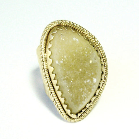Drusy and Gold Ring