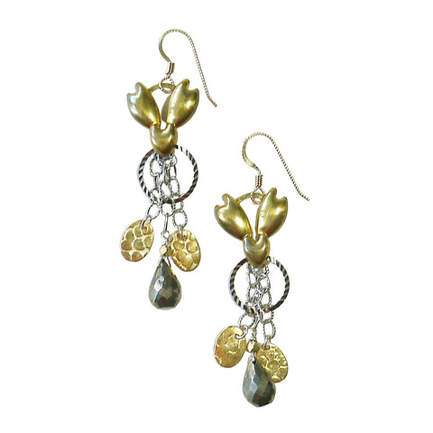 Mixed Metal & Pyrite Earrings