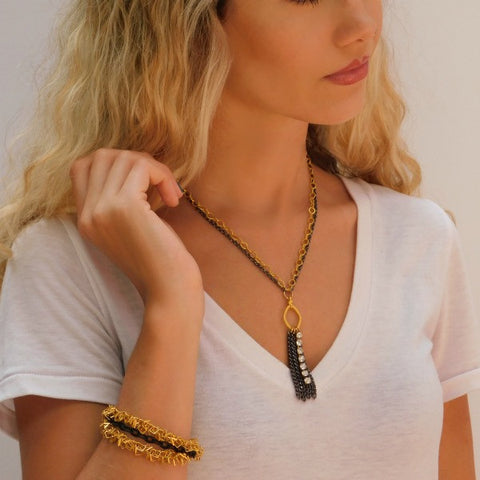 Gun Metal, Gold Plate & Rhinestone Necklace