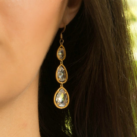 Pear-shaped Cubic Zirconia & Gold Earrings