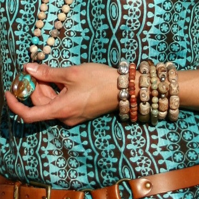 Carved Agate & Vintage Bead Stretch Bracelets