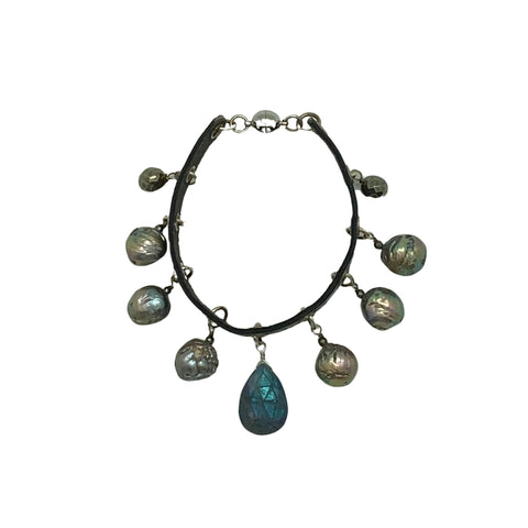Pearl, Labradorite & Leather Bracelet