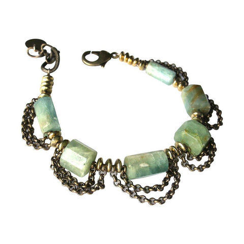 Beryl & Antiqued Brass Bracelet