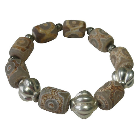 Carved Agate & Vintage Bead Stretch Bracelet