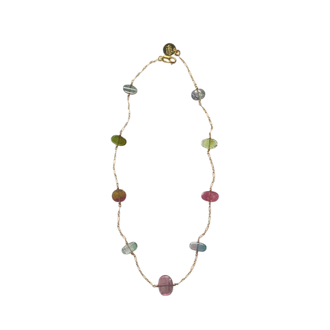 Multi-color Tourmaline & Gold Fill Necklace