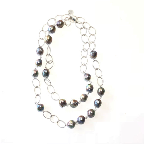 Baroque Pearl & Silver Necklace