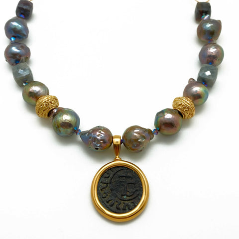 Byzantine Coin and Baroque Pearl Necklace